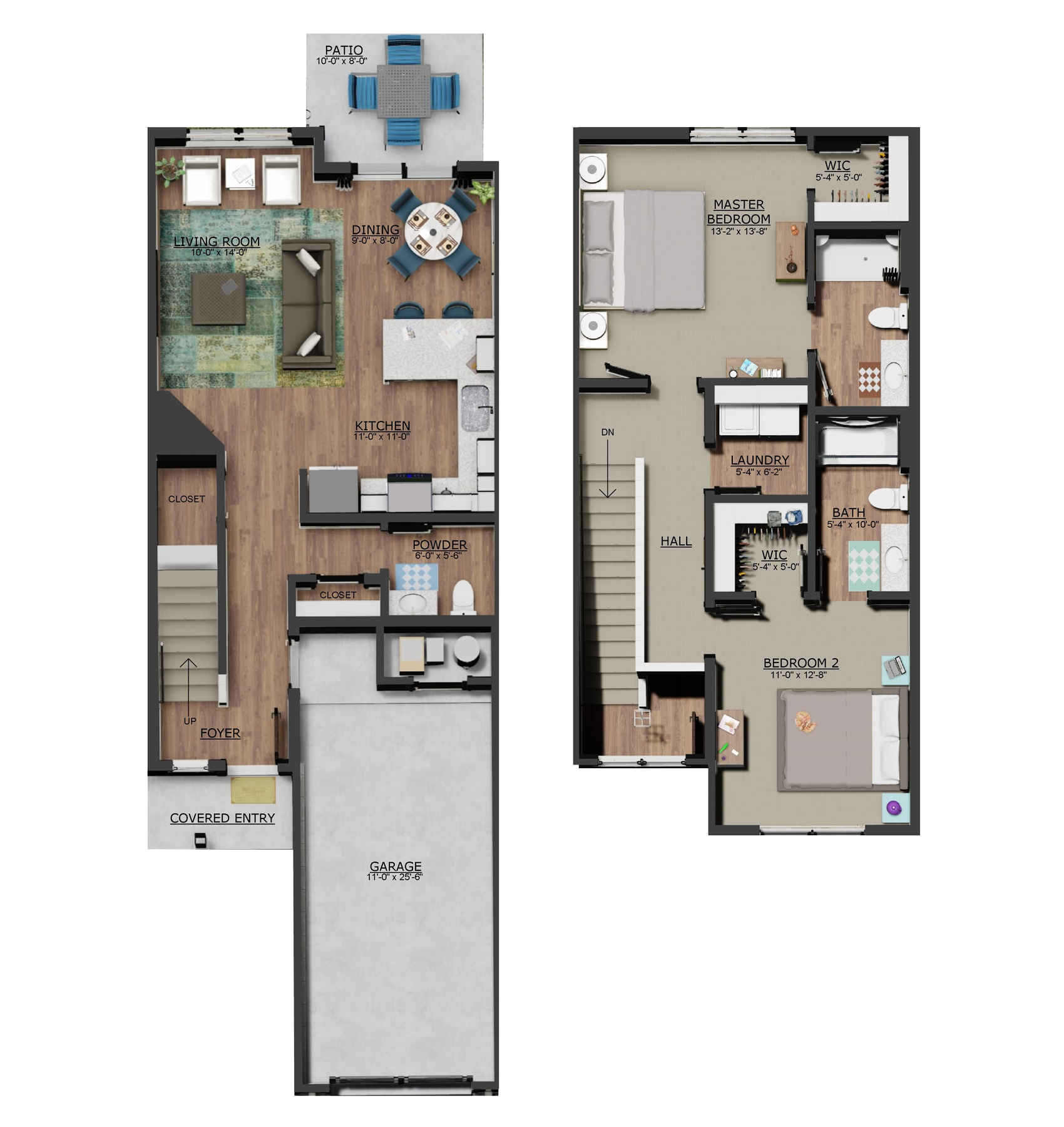 2D Floor plan of 2 Bedroom Homes at Preserve Townhomes of Spring Lake