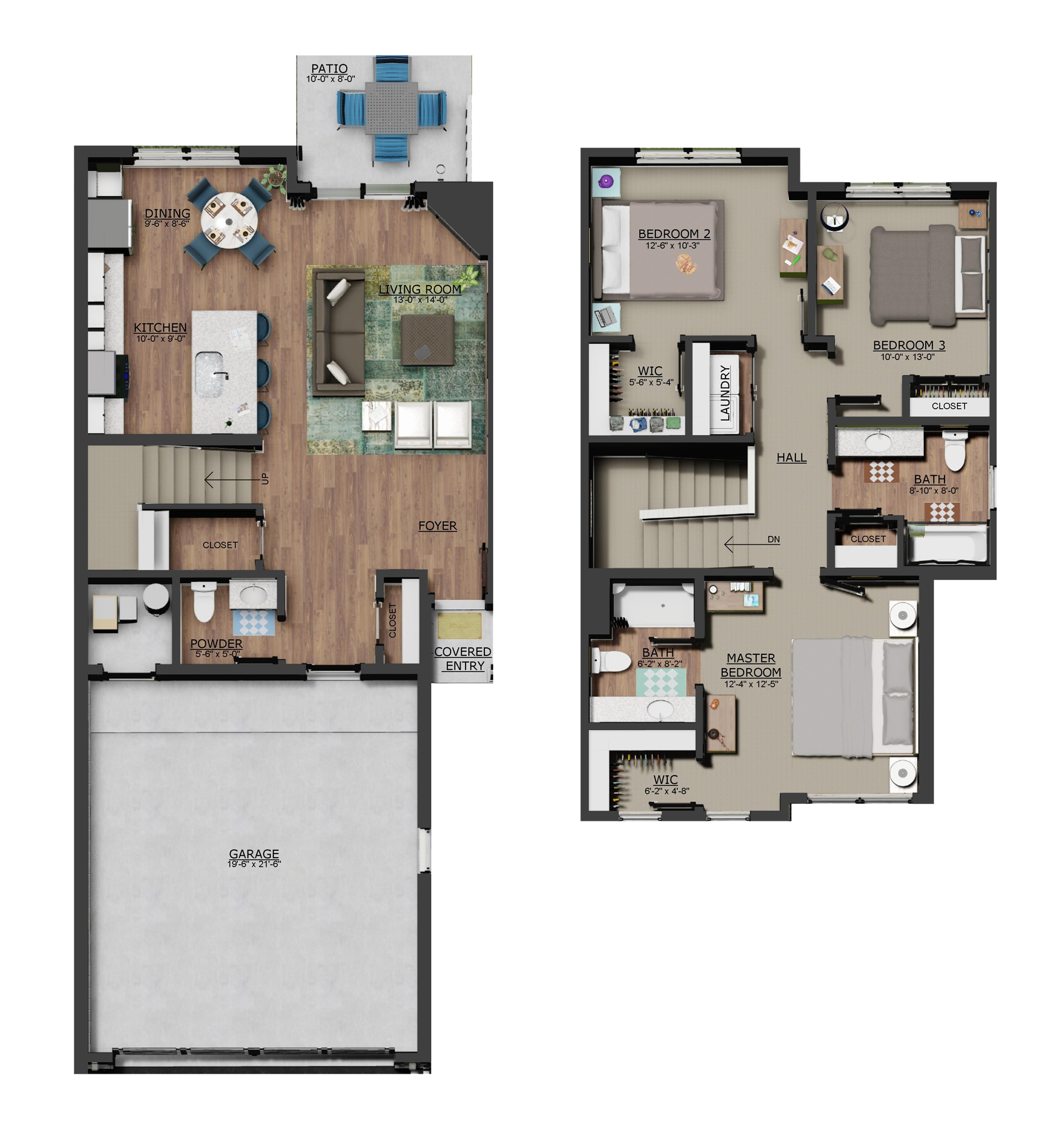 2D Floor plan of 3 Bedroom Home Preserve Townhomes of Spring Lake