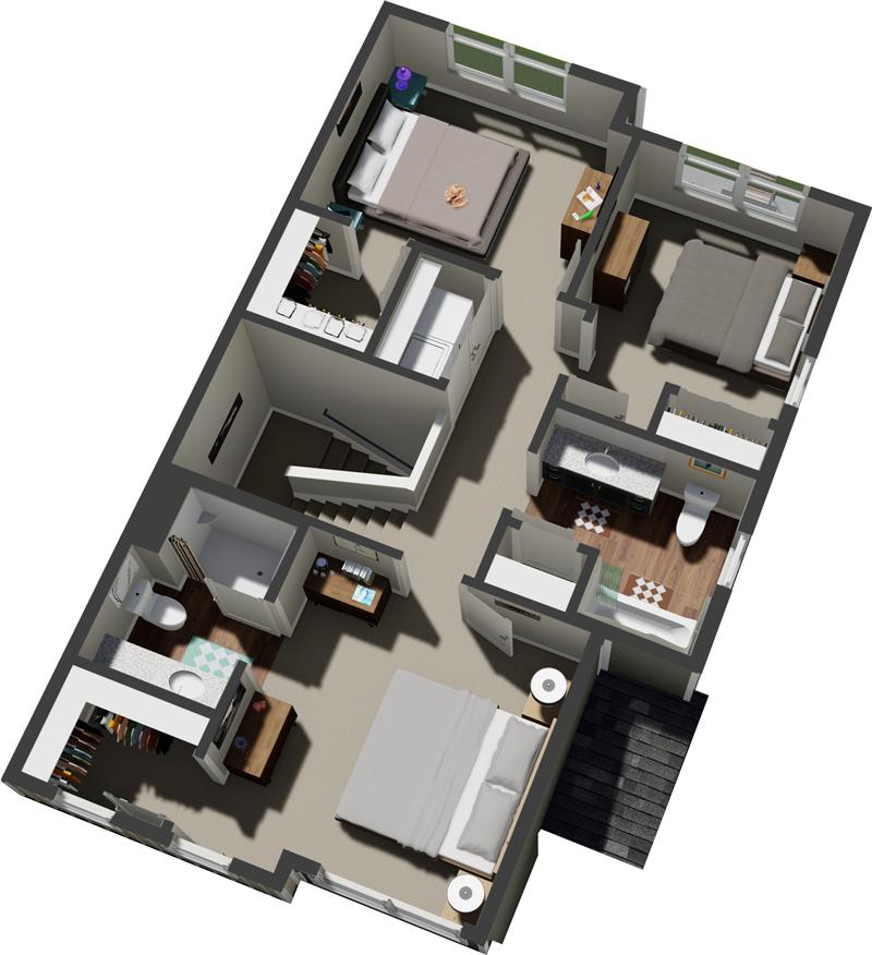3D Floor plan of 3 Bedroom Home